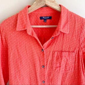 MADEWELL Orange Swiss Dot shirt Soft Cotton Small